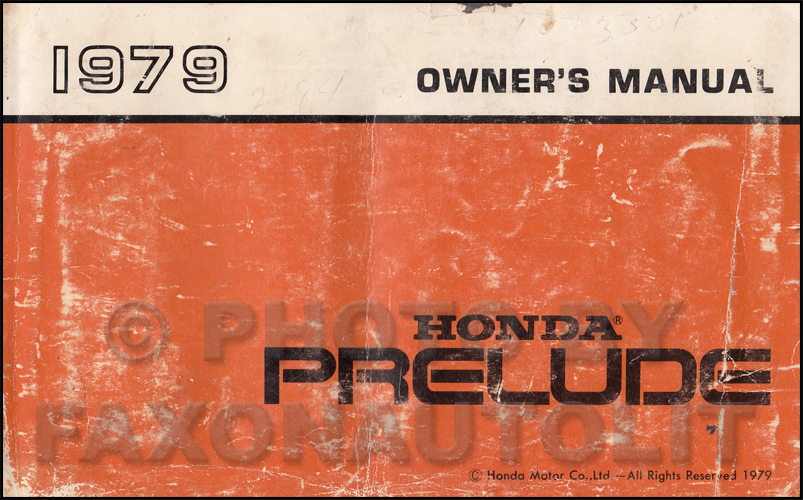 1979 Honda Prelude Owner's Manual Original
