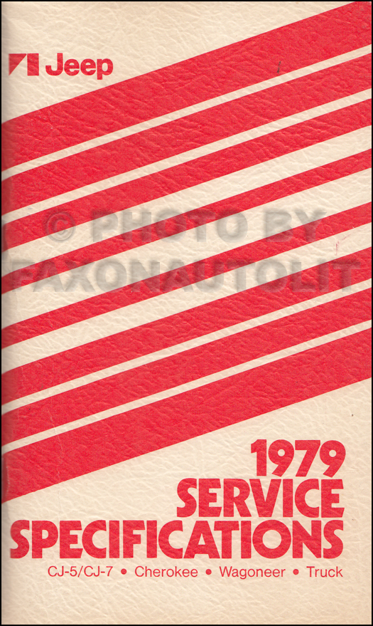 1979 Jeep Service Specifications Manual Original