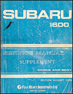 1979 Subaru Repair Manual Original Supplement