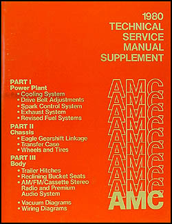 1980 AMC Shop Manual Original Update Supplement