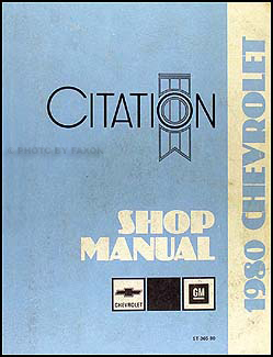 1980 Chevy Citation Repair Manual Original