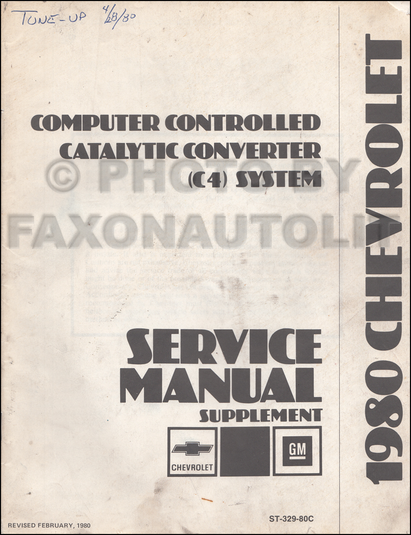 1980 Chevrolet C4 Service Manual Supplement Original