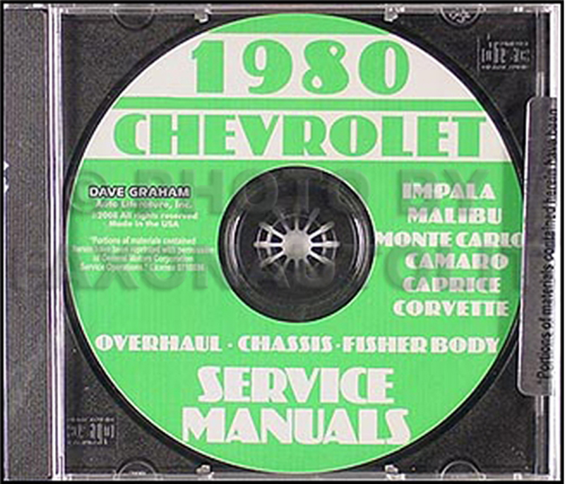 1980 Chevy Car Service Manual, Overhaul and Body Manuals CD-ROM