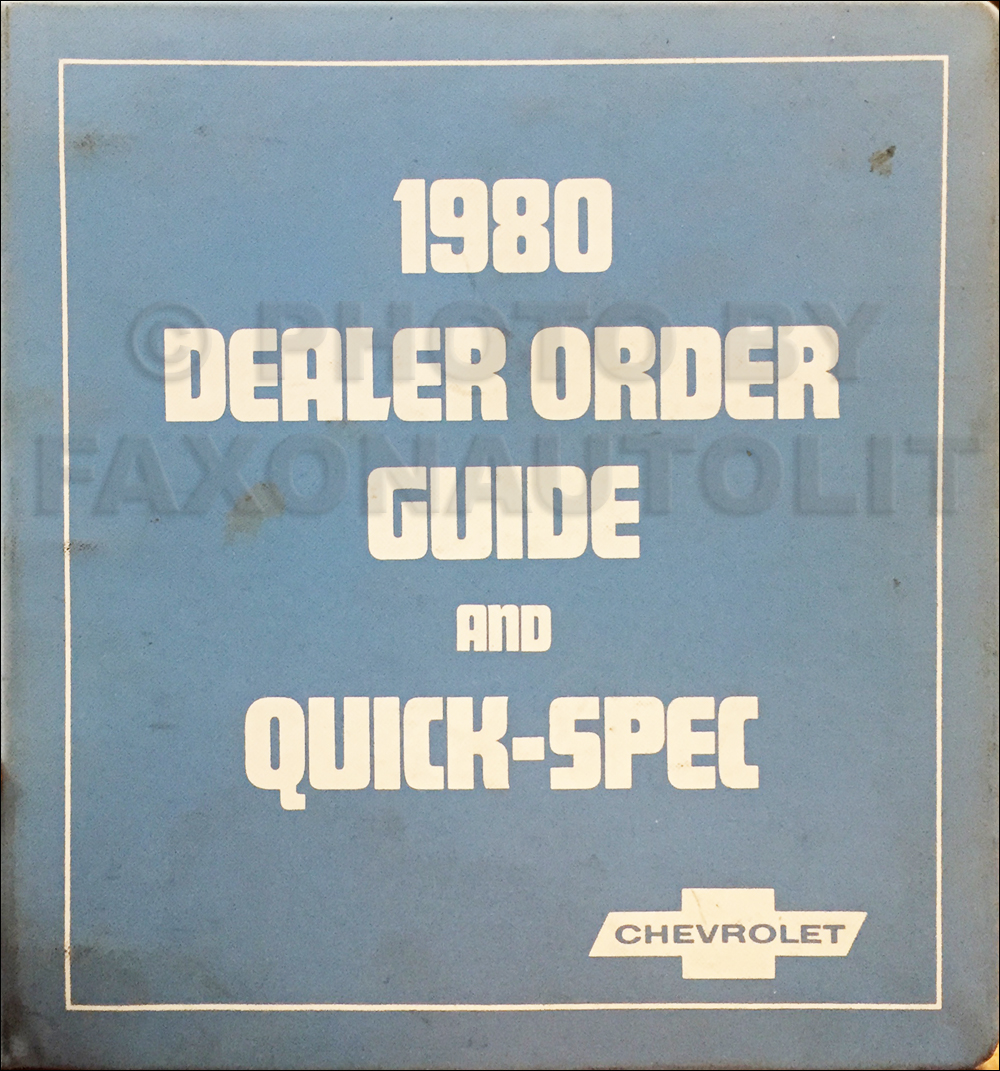 1980 Chevrolet Order Guide Dealer Album Original