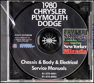 1980 Chrysler, Plymouth and Dodge CD-ROM Shop Manual