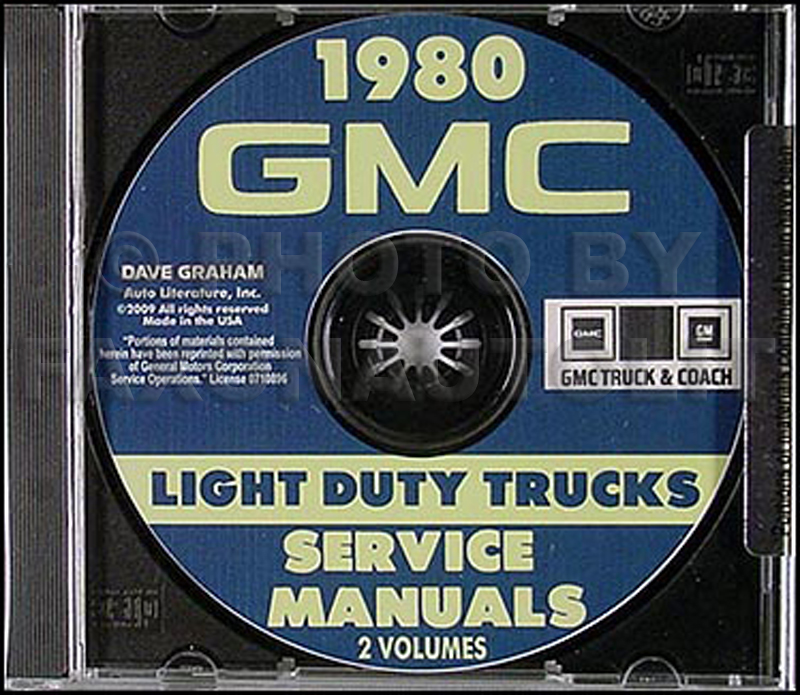 1980 GMC Shop Manuals on CD Pickup Van Jimmy Motorhome Chassis