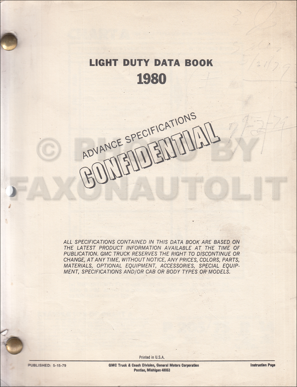 1980 GMC Advance Light Duty Data Book Original