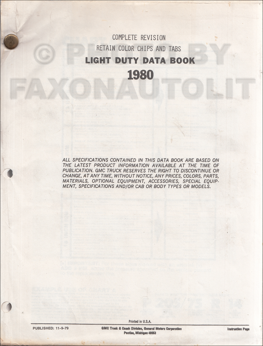 1980 GMC Light Duty Data Book Original