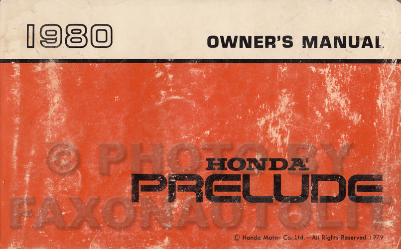 1980 Honda Prelude Owner's Manual Original