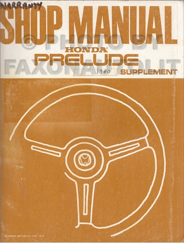 1996 Honda Prelude Repair Manual Supplement Original