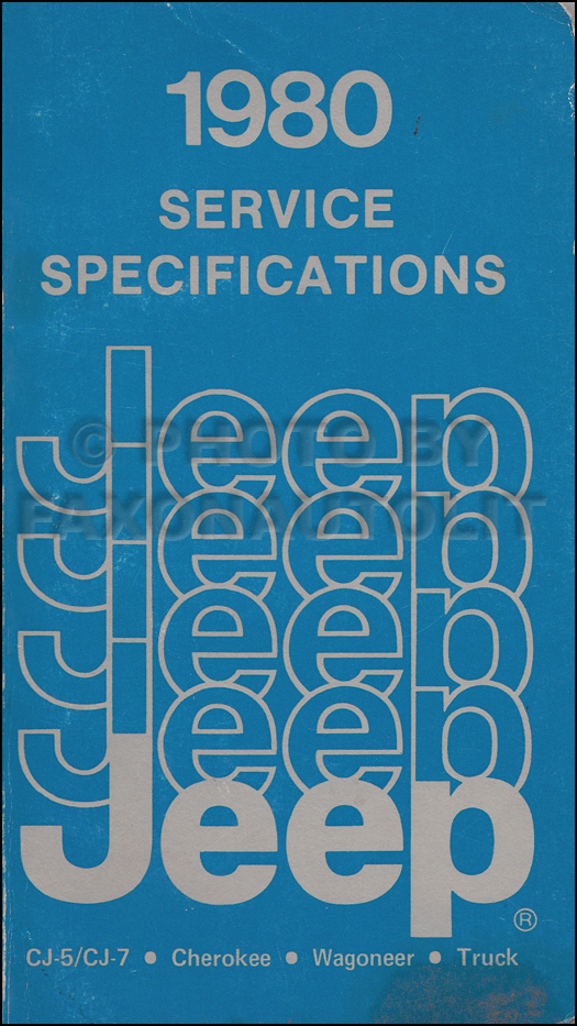 1980 Jeep Service Specifications Manual Original
