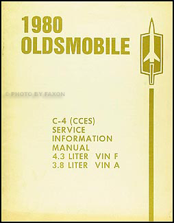 1980 Oldsmobile 3.8L & 4.3L CCES Emissions Repair Manual Original
