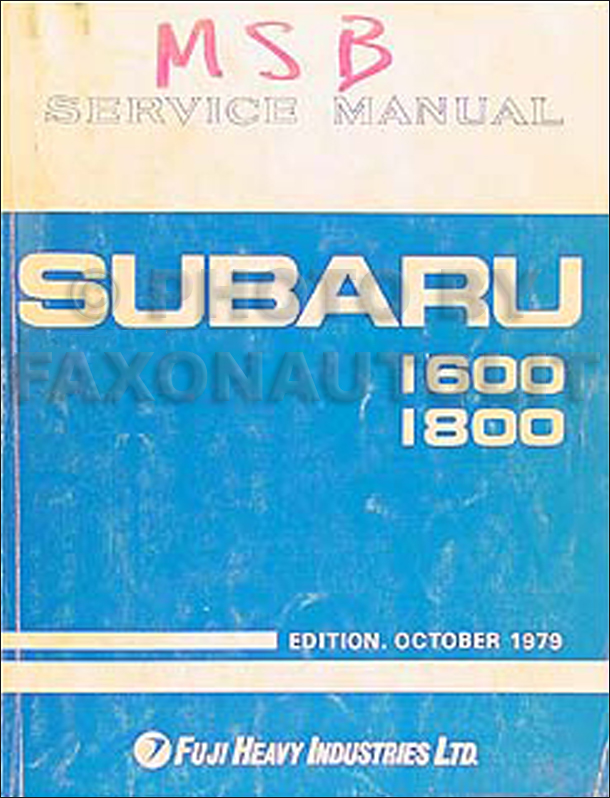 1980 Subaru Repair Manual Original