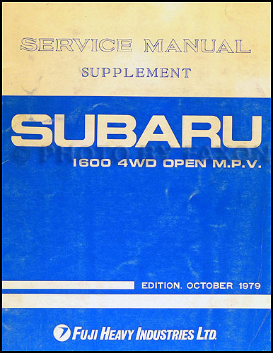 "1980 Subaru ""Brat"" 1600 4WD Open MPV Repair Manual Original Supplement"