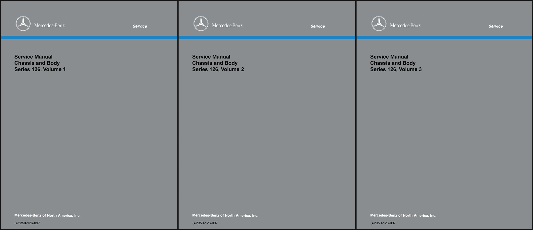 1981-1991 Mercedes 126 Chassis and Body Repair Shop Manual Reprint Set  $199.00