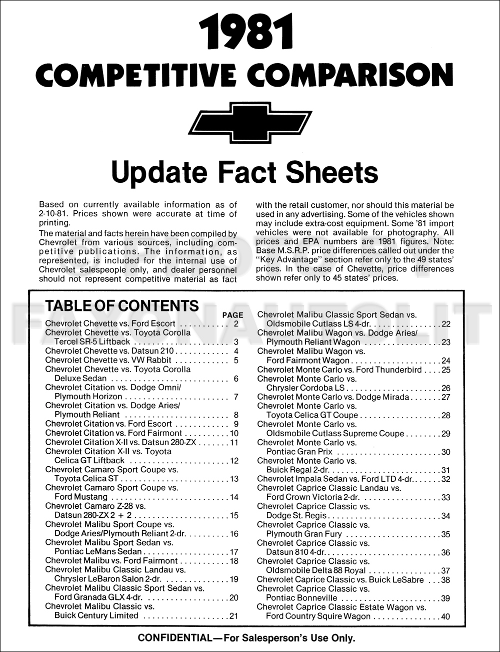 1981 Chevrolet Car Competitive Comparison Dealer Album Original