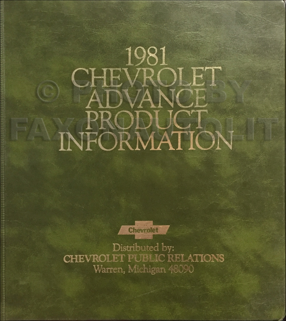 1981 Chevrolet Advance Technical Press Kit Original