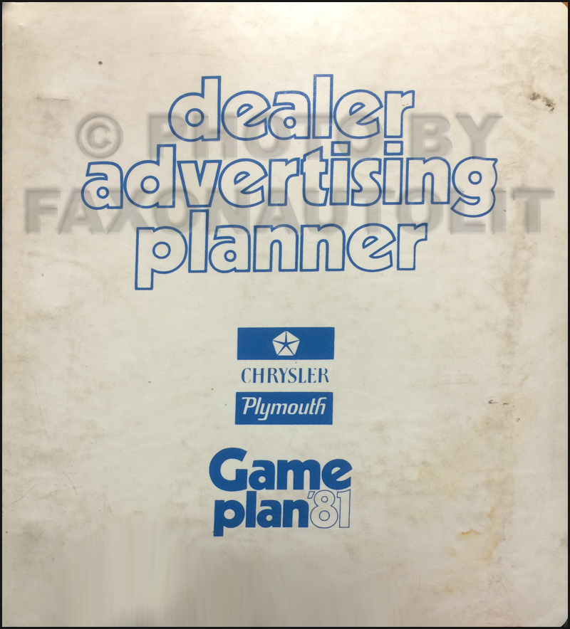 1981 Chrysler Plymouth Dealer Advertising Planner Original
