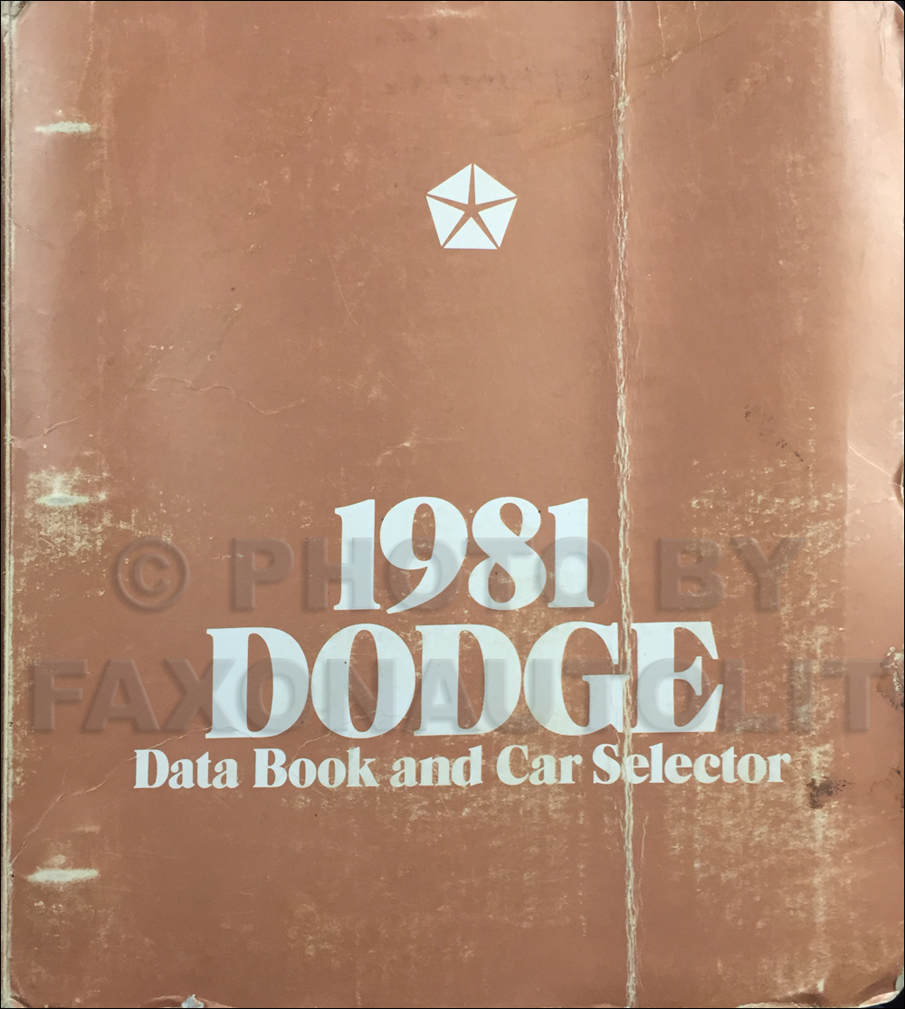 1981 Dodge Car Data Book Original