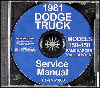 1981 CD Dodge 150-450 Pickup Truck Ramcharger Trail Duster Repair Shop Manual
