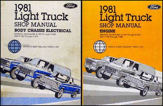 1981 Ford Truck Repair Shop Manual F100-F150-F350 Bronco Econoline Van Set