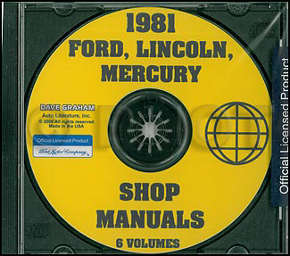 1981 Ford Lincoln Mercury Car Repair Manual CD