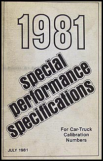 1981 Ford Car and Truck Special Performance Specifications Book Orig.