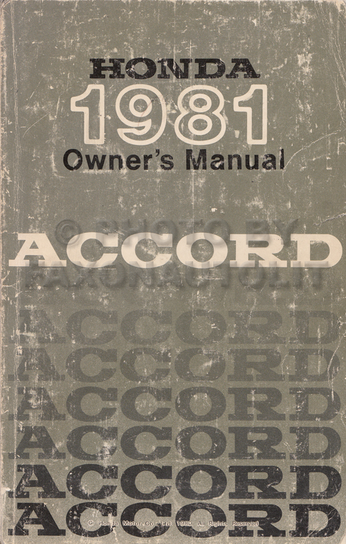 1981 Honda Accord Owner's Manual Original