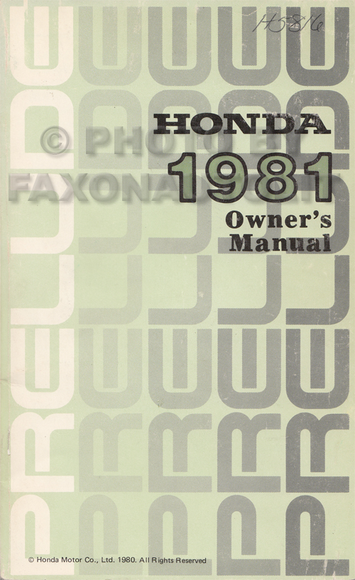 1981 Honda Prelude Owner's Manual Original
