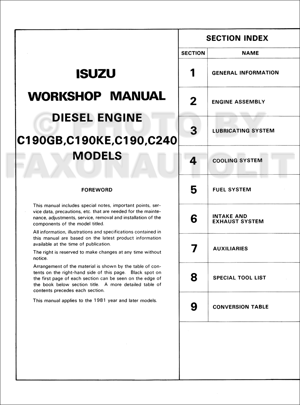 1981 Isuzu P'up Diesel Engine Repair Manual Original. click on thumbnail to  zoom