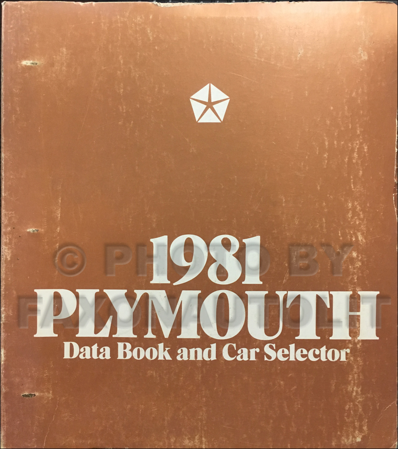 1981 Plymouth Data Book Original
