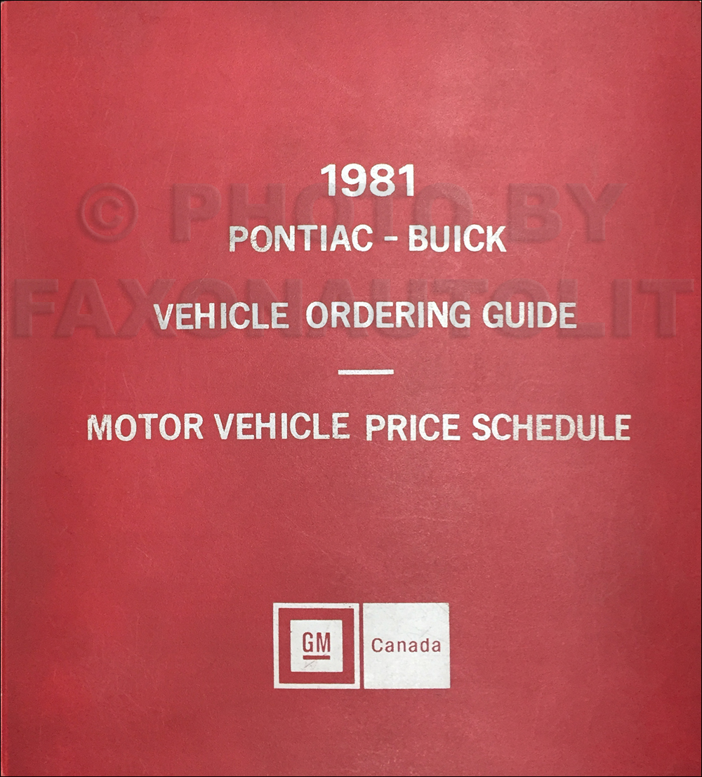 1981 Pontiac and Buick Ordering Guide Original Dealer Album Canadian