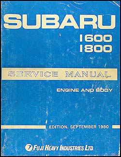 1981 Subaru Repair Manual Original