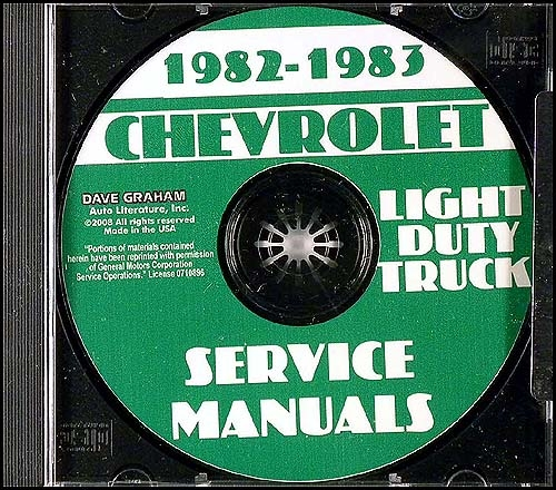 1982-1983 Chevrolet Truck Repair Shop Manual CD Pickup Van Blazer Suburban