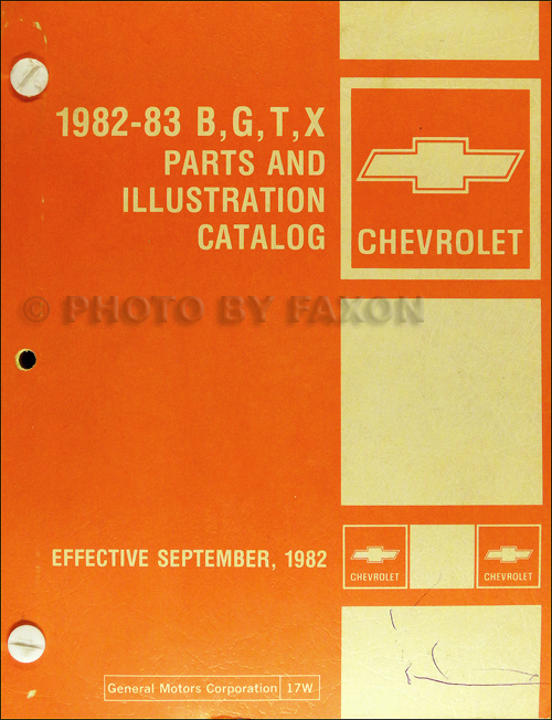 1982-1983 Chevy Parts Book Original El Camino Monte Carlo Caprice Impala Malibu Chevette Citation