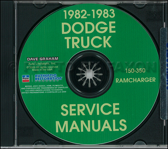 1982-1983 Dodge Ramcharger and Pickup D&W 150-350 Repair Shop Manual CD