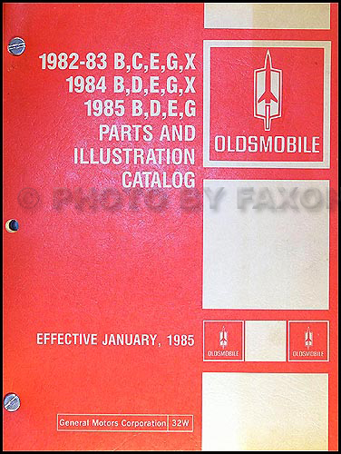 1982-1985 Oldsmobile Parts Book Original 88 98 Toronado Cutlass Supreme/Calais Omega