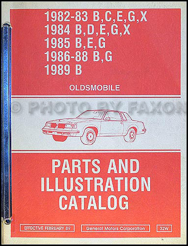 1982-1989 Oldsmobile Parts Book Original Cutlass Supreme/Calais Omega