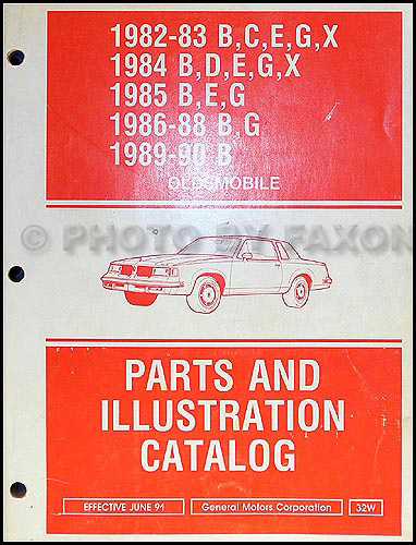 1982-1990 Olds Parts Book Original Custom Cruiser 82-88 Cutlass Supreme/Calais Omega