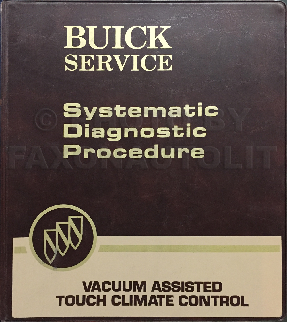 1982 Buick Regal Service Training Manual Original Vacuum Assist Touch Climate Control