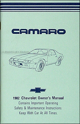 1982 Camaro Owner's Manual Reprint Berlinetta, Sport Coupe, Z/28