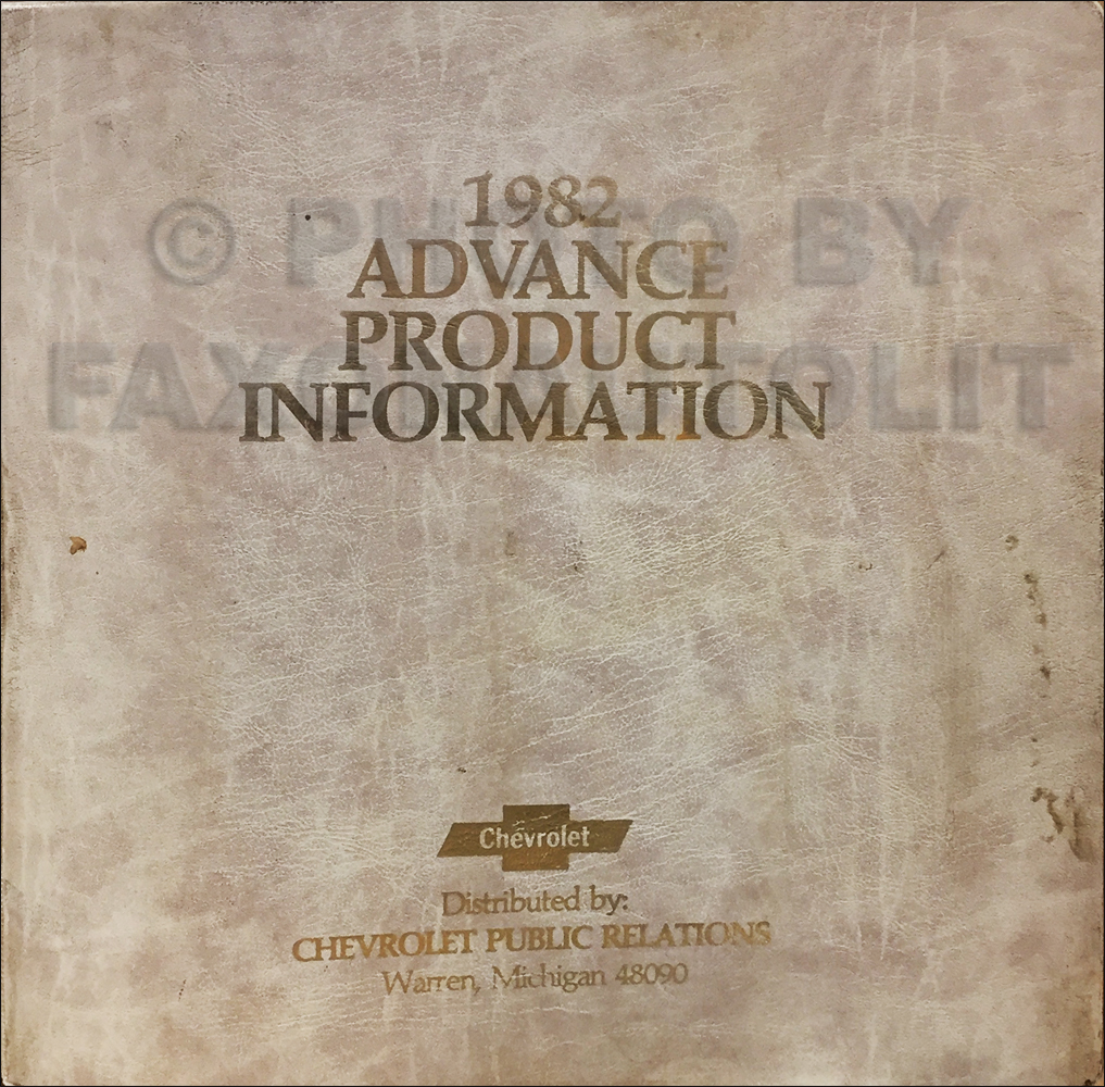 1982 Chevrolet Advance Technical Press Kit Original