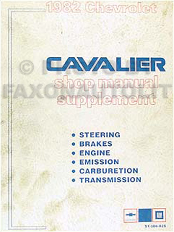 1982 Chevy Cavalier Repair Manual Update Supplement Original