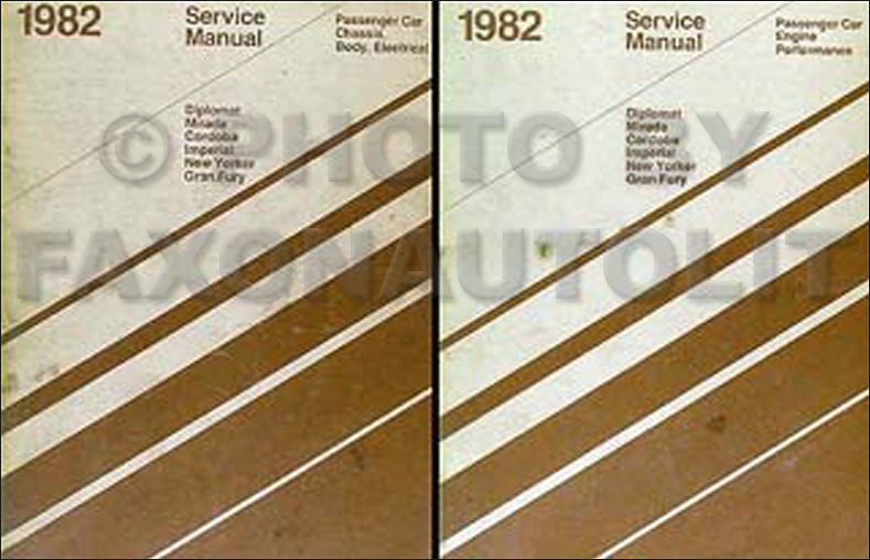 1982 RWD Repair Shop Manual Set Diplomat Mirada Cordoba New Yorker Gran Fury Imperial