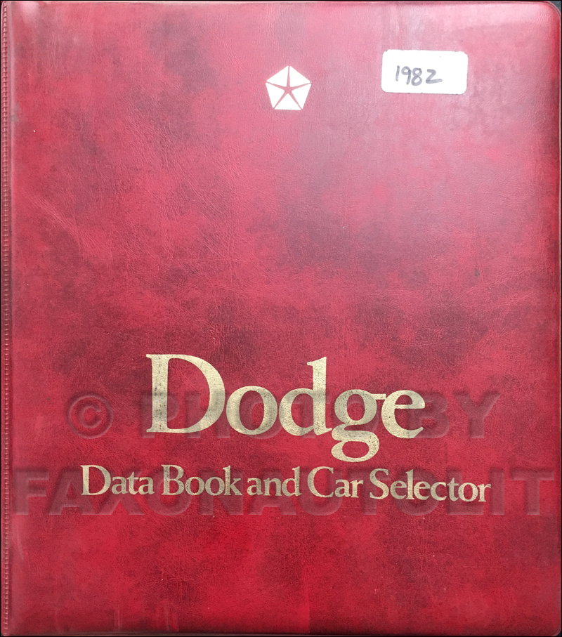 1982 Dodge Car Data Book Original
