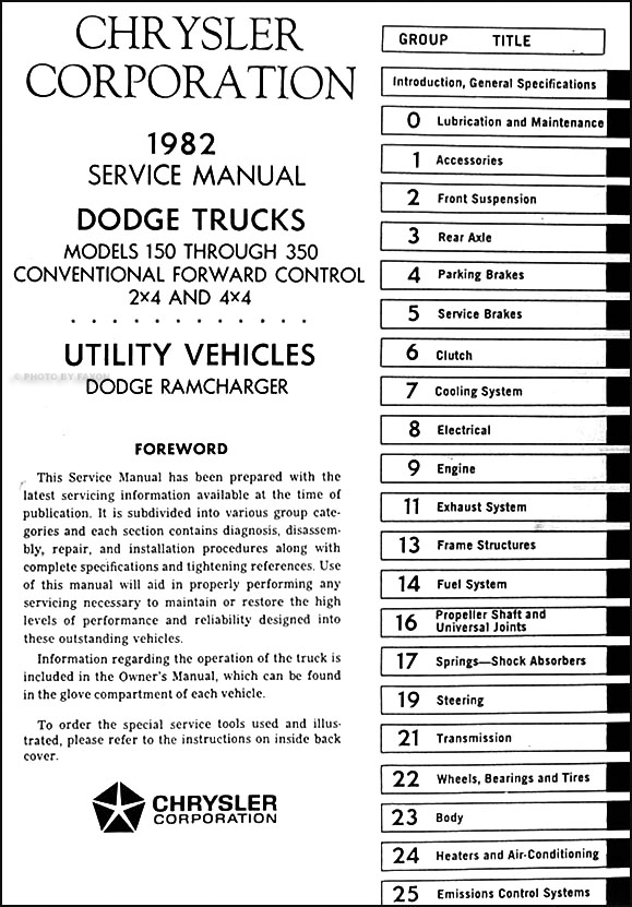 1982 Dodge Pickup Truck  U0026 Ramcharger Repair Shop Manual