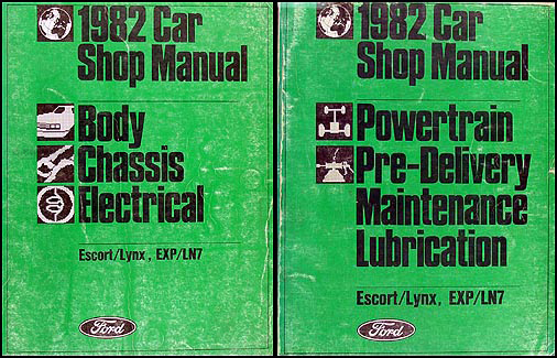 1982 Ford Escort and EXP Mercury Lynx and LN7 Shop Manual Set Original