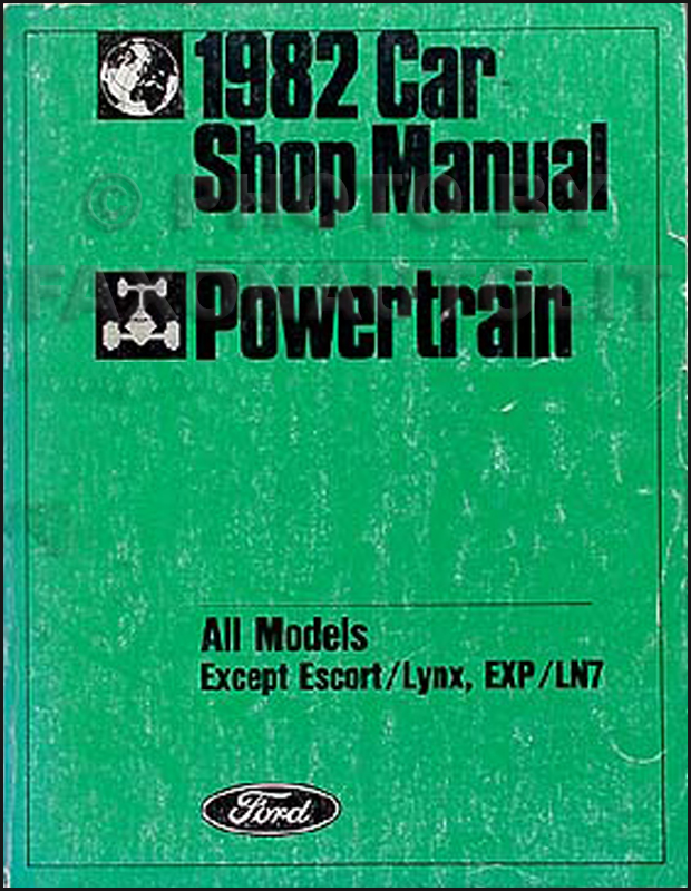 1982 Ford Lincoln and Mercury Engine Repair Shop Manual Original
