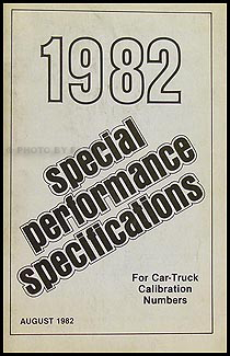 1982 Ford Car and Truck Special Performance Specifications Book Orig.