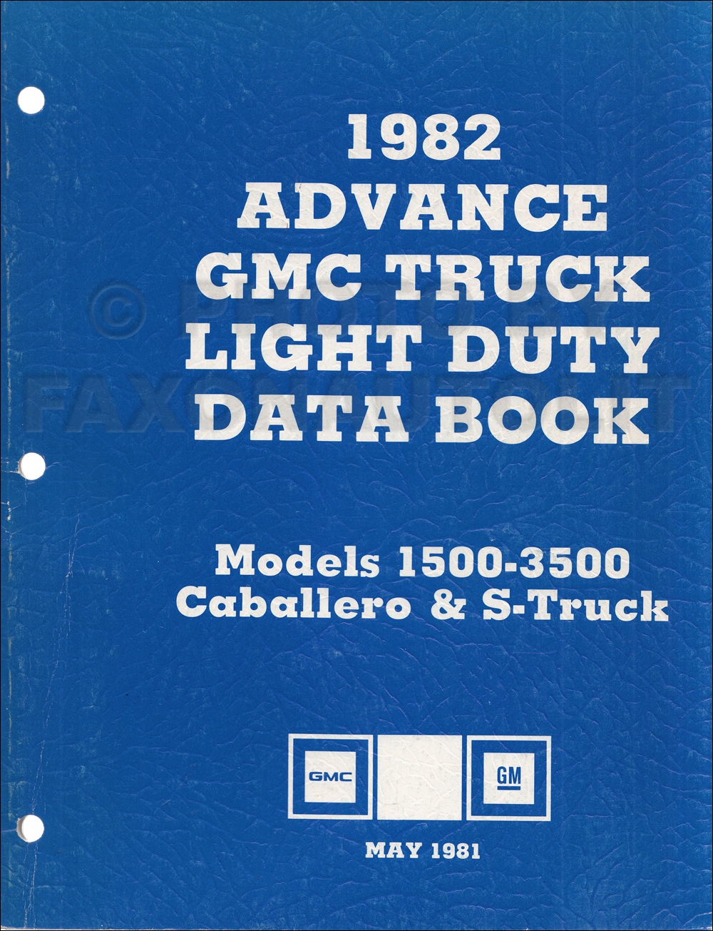 1982 GMC Advance Light Duty Data Book Original